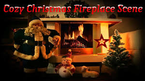cozy christmas fireplace scene with santa jolly snowman little