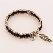 black bracelet women images Silver beaded bracelet with feather pendant the yoga mandala shop jpg