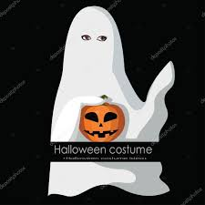 dressed as ghost for halloween cartoon style vector