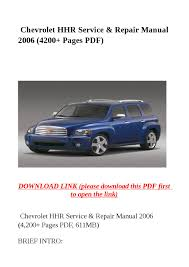 chevrolet hhr service u0026 repair manual 2006 4200 pages pdf by