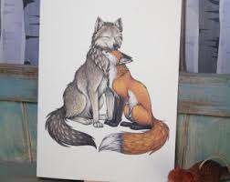 wolf fox illustration a4 print on 270gsm card available in
