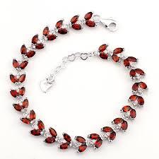 garnet bracelet silver images Natural garnet bracelet 925 sterling silver woman fine elegant red jpg