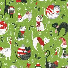 cat christmas wrapping paper yule cats pet christmas favor 1 each caspari