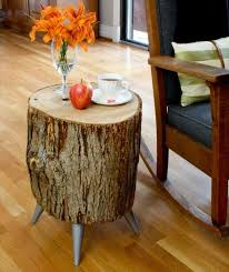 Log Side Table Wood Log Side Table