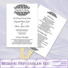 home fans wedding program paddle fan template matelasse design 18