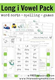 long i vowel pattern free printable pack spelling games word