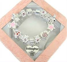 goddaughter charm bracelet daisymay sparkling pink silver goddaughter charm bracelet 18cm
