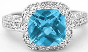 rings blue topaz images Vintage filigree cushion cut blue topaz and diamond ring from jpg