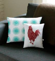 rooster block print pillow home decor u0026 lighting artgoodies