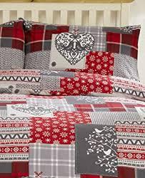Brushed Cotton Duvet Cover Double Bedding Heaven Alpine Patchwork Flannelette Duvet Cover Set