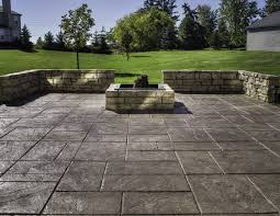 Small Concrete Patio Designs by Stamped Concrete Patio Coming Off Of A Simple Deck Just Needs