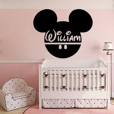 online get cheap baby room wall murals aliexpress com alibaba group personality name mickey head wall decals vinyl wall stickers for kids room baby home wall mural