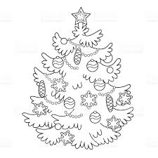 coloring page outline of tree with ornaments