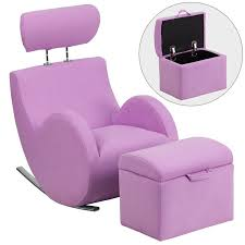 lavender purple fabric kids rocker gaming chair w storage ottoman