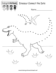 dinosaur connect the dots free kindergarten learning worksheet