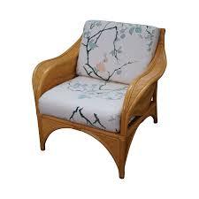 rattan palm leaf bamboo lounge chair chairish