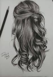 drawing of a with wavy hair more information