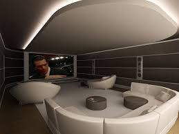 contemporary home theater with cove lighted ceiling