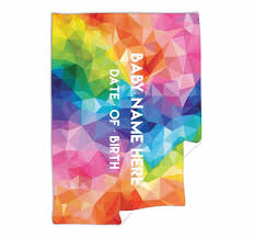 Baby Blanket Comforter Geometric Colour Modern Pattern Bright Rainbow Baby Blanket