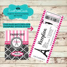 Sweet 15 Invitations Cards Pink Damask Passport Paris Invitations For Sweet 16 Or 15