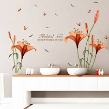 popular lily wall decal buy cheap lily wall decal lots from china new lily flowers wall sticker on the wall stickers home decor bedroom backdrop wall decals fashion