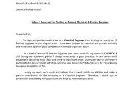 25 cover letter chemical engineering graduate chemical engineer
