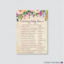 floral baby shower celebrity baby name game celebrity baby