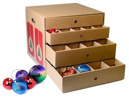 cardboard ornament storage box with drawers