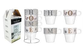 tea coffee stacking mugs metal holder porcelain 4 designs home