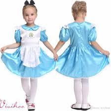 alice halloween party 2017 kids halloween little alice fancy dress girls maid blue silk