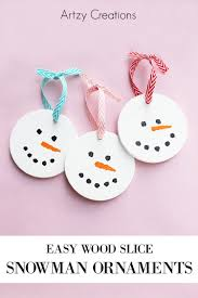 wood slice snowmen ornaments artzycreations