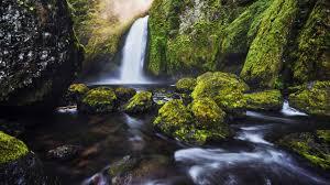 wallpaper waterfall moss green hd 4k nature 1937