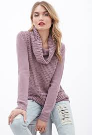 cowl sweater lyst forever 21 contemporary mixed knit cowl neck sweater in purple