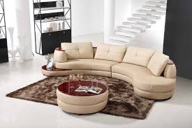 Round Sofa Chair Living Room Furniture Contemporary Beige Leather Sectional Curved Sofa With Round Modern