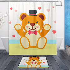 Teddy Shower Curtain Decorative Waterproof Polyester Shower Curtain 152cmx183cm With