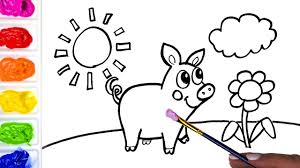 coloring a sunshine pig and flower colouring page youtube