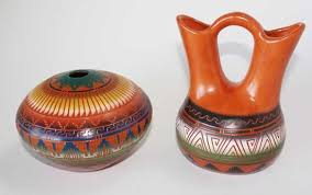Clay Vase Painting Native American Hand Etched Pottery Navajo Handcrafted Mugs