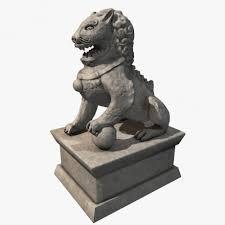 asian lion statues lion statue 3d model cgstudio