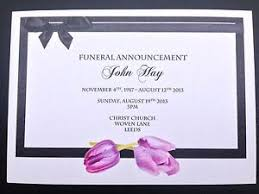 funeral invitation 50 x personalised funeral announcement invitation cards a6 ebay