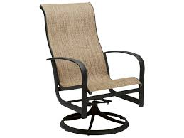Swivel Outdoor Chair Woodard Fremont Sling Aluminum High Back Swivel Rocker 2p0488