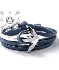 anchor leather bracelet man images Blue anchor leather bracelet akamshop jpg