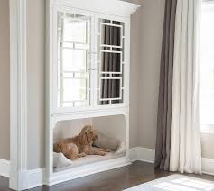 inset mirrored cabinets with dog bed transitional bedroom