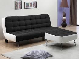canapé pouf canapé clic clac et pouf en simili noir ou blanc murni