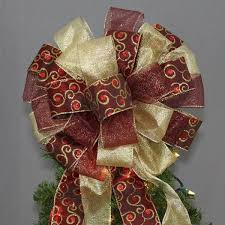 burgundy gold swirl tree topper bow 13 package