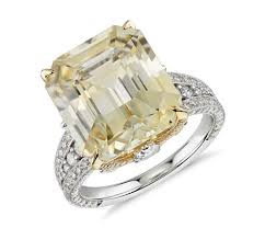 yellow engagement rings emerald cut yellow sapphire and diamond ring in 18k white and