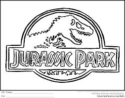 dinosaur coloring pages jurassic park logo ginormasource kids