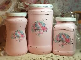 3 shabby chic pink vintage glass jars canisters decoupage flower