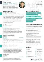 one page resume the résumé of elon musk by novorésumé