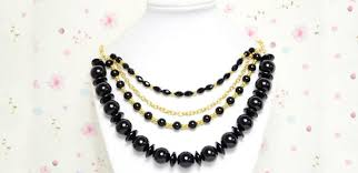 black bead necklace images Fashionable jewelry on making a chunky golden chain necklace with jpg