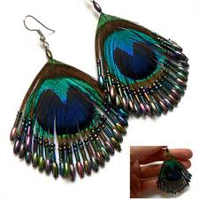 peacock feather earrings pebble london exquisitely beaded peacock feather drop earrings